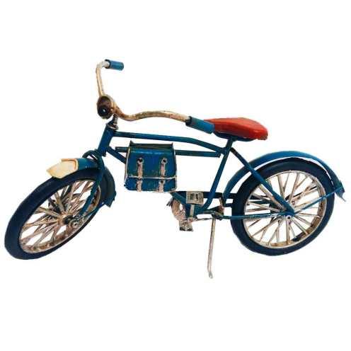 Miniatura Bicicleta Azul Com Bolsa De Couro