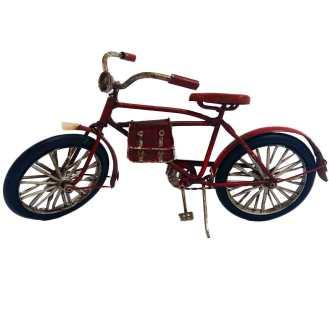 Miniatura Bicicleta Vermelha Com Bolsa De Couro